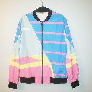 Women's 80s Neon Striped Bomber Jacket